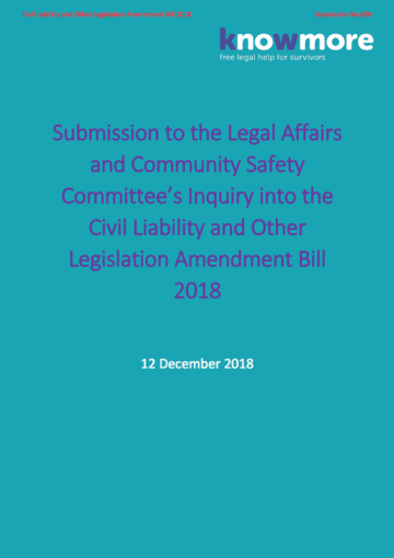 Submission to the Legal Affairs and Community Safety Committee's Inquiry into the Civil Liability and Other Legislation Amendment Bill 2018