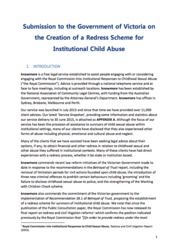 VIC DOJ – Creation of a redress scheme for institutional child abuse