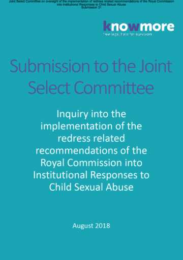 Joint Select Committee on oversight of the implementation of redress related recommendations of the Royal Commission into Institutional Responses to Child Sexual Abuse