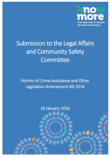 QLD – Victims of Crime Assistance and Other Legislation Amendment Bill 2016