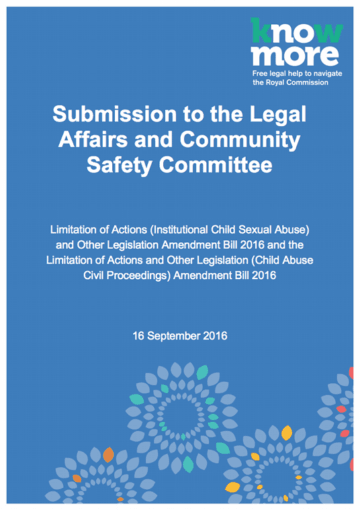 QLD – Limitation of Actions (Institutional Child Sexual Abuse) and Other Legislation Amendment Bill 2016 and the Limitation of Actions and Other Legislation (Child Abuse Civil Proceedings) Amendment Bill 2016