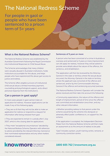 The National Redress Scheme – For people in gaol or people who have been sentenced to a prison term of 5+ years