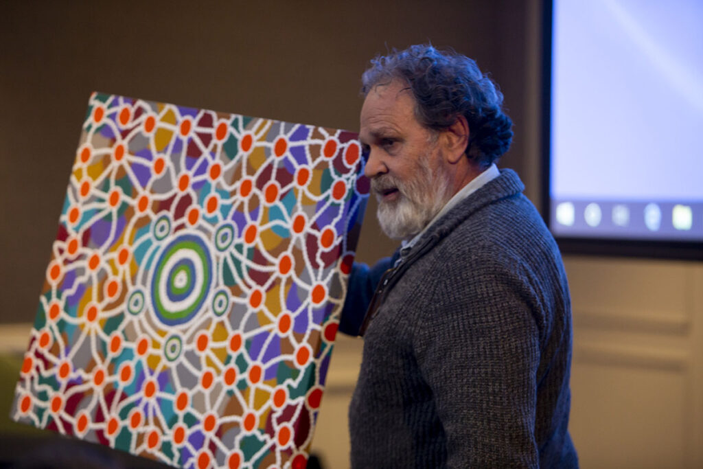 Dean Bell with his artwork