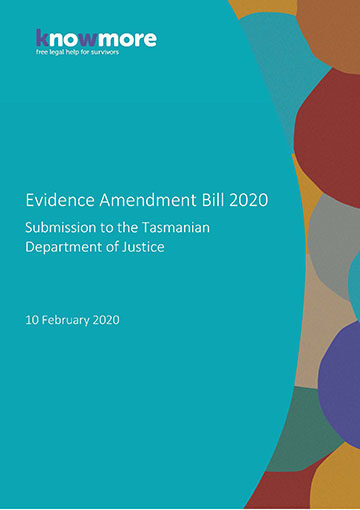 Evidence Amendment Bill 2020 Submission to the Tasmanian Department of Justice
