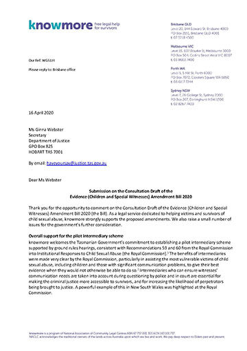 Submission on the Consultation Draft of the Evidence (Children and Special Witnesses) Amendment Bill 2020