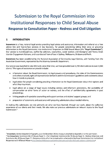 Submission to the Royal Commission into Institutional Responses to Child Sexual Abuse